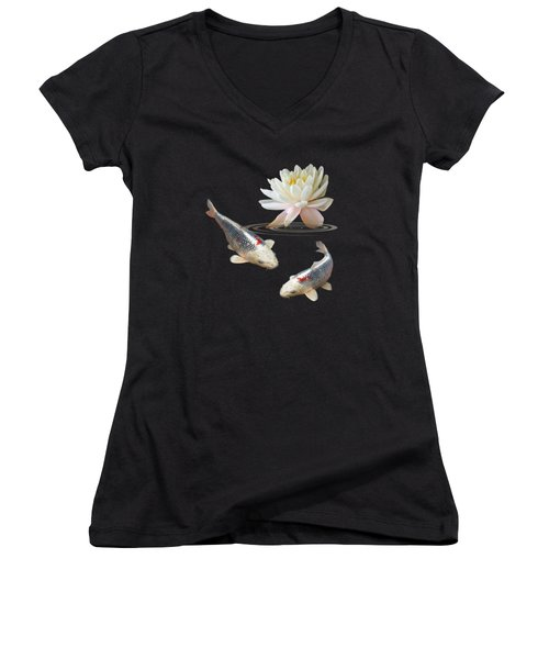 Silver And Red Koi With Water Lily Vertical Women's V-Neck T-Shirt (Junior Cut) by Gill Billington
