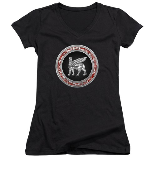Silver Babylonian Winged Bull  Women's V-Neck T-Shirt (Junior Cut) by Serge Averbukh
