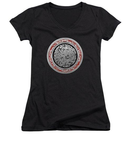 Sliver Chinese Dragon On Black Velvet Women's V-Neck T-Shirt (Junior Cut) by Serge Averbukh