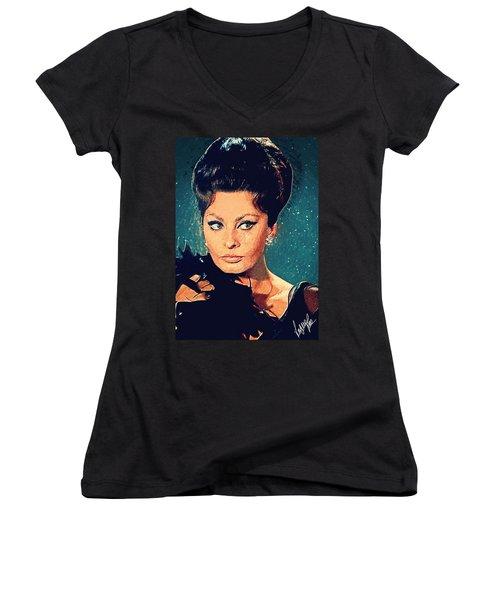 Sophia Loren Women's V-Neck T-Shirt (Junior Cut) by Taylan Apukovska