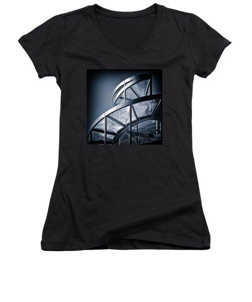 Spiral Staircase Women's V-Neck T-Shirt (Junior Cut) by Dave Bowman