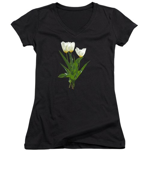 Spring - Backlit White Tulips Women's V-Neck T-Shirt (Junior Cut) by Susan Savad