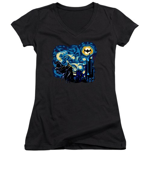 Starry Knight Women's V-Neck T-Shirt (Junior Cut) by Three Second