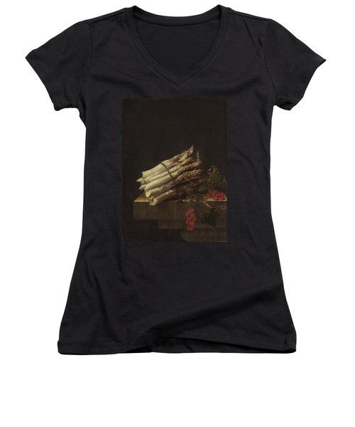 Still Life With Asparagus And Red Currants Women's V-Neck T-Shirt (Junior Cut) by Adriaen Coorte