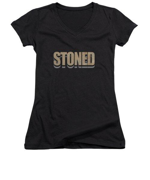 Stoned Tee Women's V-Neck T-Shirt (Junior Cut) by Edward Fielding