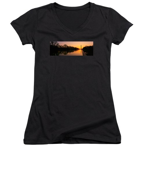 Sunset On The Washington Monument & Women's V-Neck T-Shirt (Junior Cut) by Panoramic Images