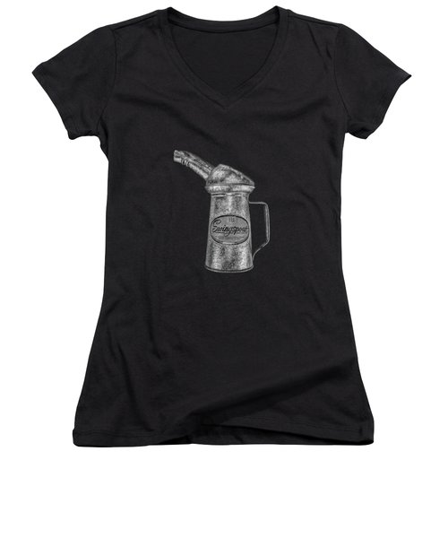 Swingspout Oil Can Bw Women's V-Neck T-Shirt (Junior Cut) by YoPedro