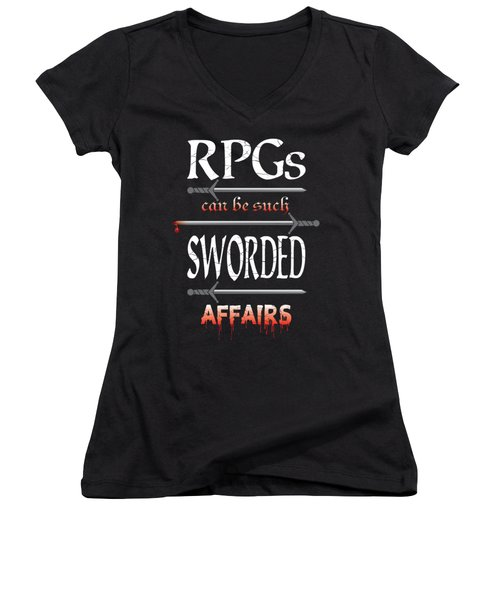 Sworded Affairs Women's V-Neck T-Shirt (Junior Cut) by Jon Munson II