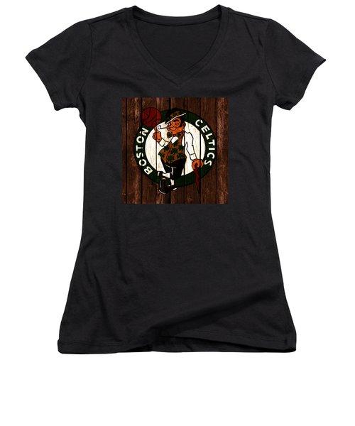The Boston Celtics 2c Women's V-Neck T-Shirt (Junior Cut) by Brian Reaves