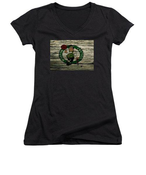 The Boston Celtics 2w Women's V-Neck T-Shirt (Junior Cut) by Brian Reaves