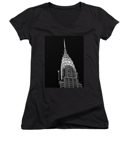 The Chrysler Building Women's V-Neck T-Shirt (Junior Cut) by Vivienne Gucwa