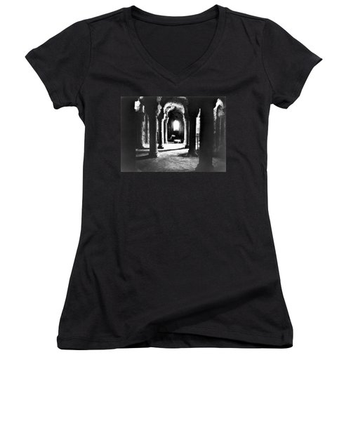 The Crypt Women's V-Neck T-Shirt (Junior Cut) by Simon Marsden