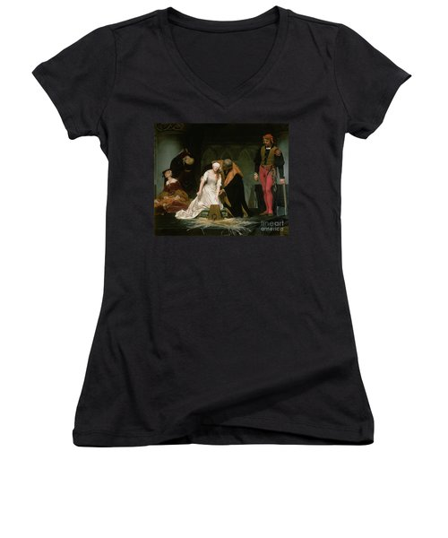 The Execution Of Lady Jane Grey Women's V-Neck T-Shirt (Junior Cut) by Hippolyte Delaroche
