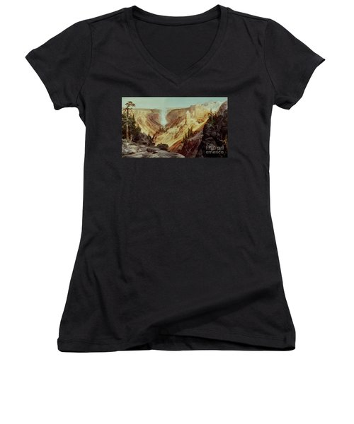 The Grand Canyon Of The Yellowstone Women's V-Neck T-Shirt (Junior Cut) by Thomas Moran