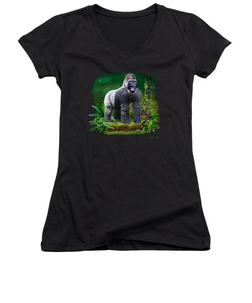 The Guardian Of The Rain Forest Women's V-Neck T-Shirt (Junior Cut) by Glenn Holbrook