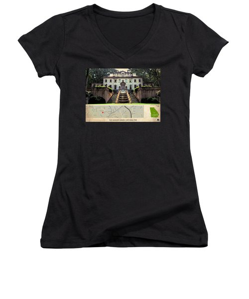 The Hunger Games Catching Fire Movie Location And Map Women's V-Neck T-Shirt (Junior Cut) by Pablo Franchi