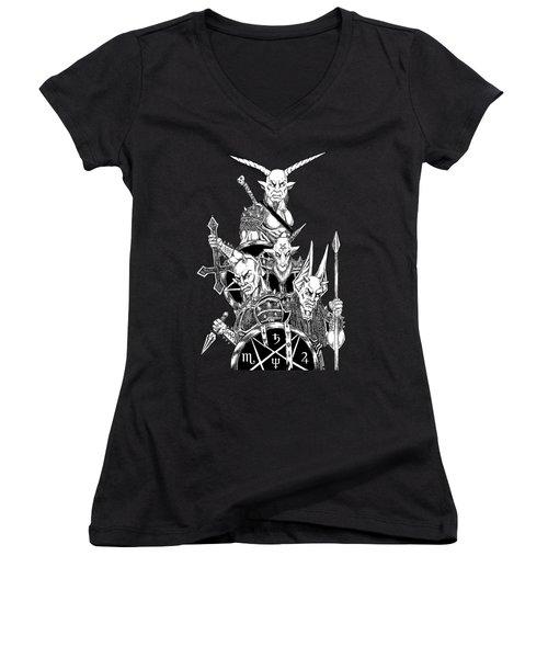 The Infernal Army Black Version Women's V-Neck T-Shirt (Junior Cut) by Alaric Barca