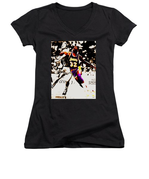 The Rebound Women's V-Neck T-Shirt (Junior Cut) by Brian Reaves