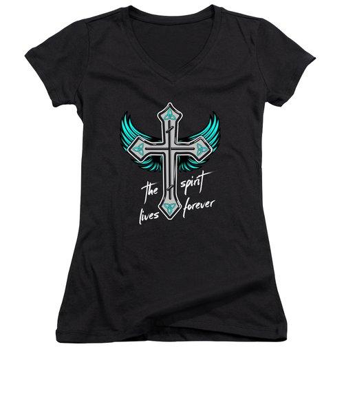 The Spirit Lives Forever II Women's V-Neck T-Shirt (Junior Cut) by Melanie Viola