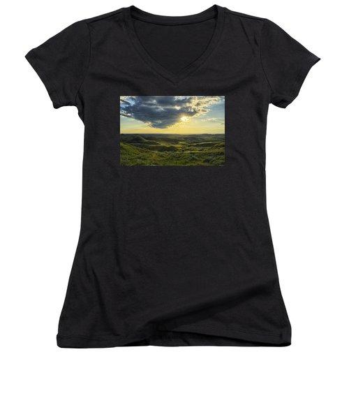 The Sun Shines Through A Cloud Women's V-Neck T-Shirt (Junior Cut) by Robert Postma
