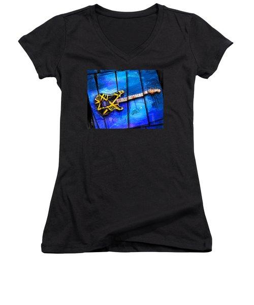 The Yellow Jacket Women's V-Neck T-Shirt (Junior Cut) by Gary Bodnar