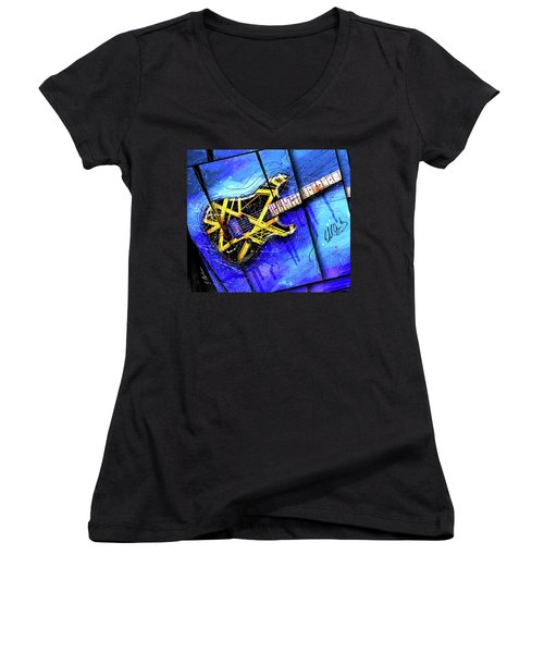 The Yellow Jacket_cropped Women's V-Neck T-Shirt (Junior Cut) by Gary Bodnar