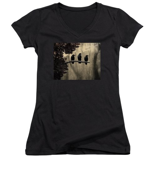 Three Ravens Women's V-Neck T-Shirt (Junior Cut) by Gothicrow Images