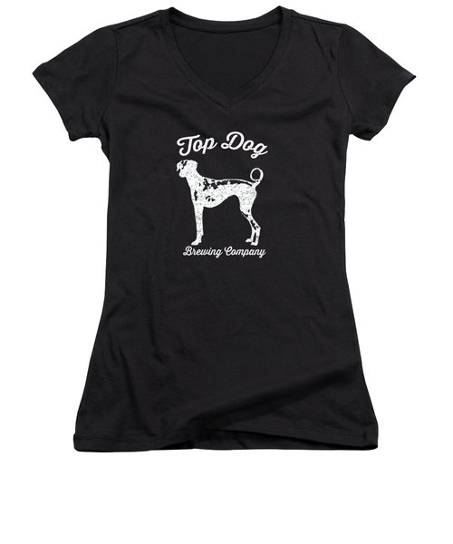 Top Dog Brewing Company Tee White Ink Women's V-Neck T-Shirt (Junior Cut) by Edward Fielding