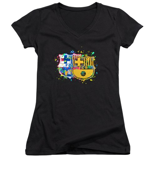 Tribute To Fc Barcelona 8 Women's V-Neck T-Shirt (Junior Cut) by Alberto RuiZ