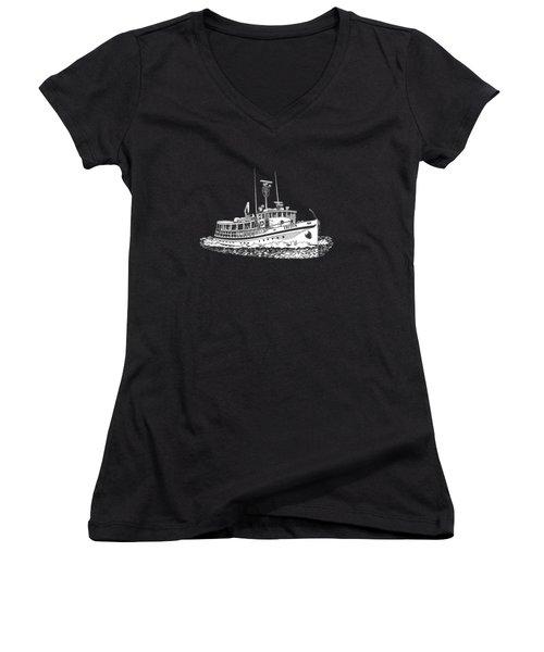 Triton 88 Foot Fantail Yacht Women's V-Neck T-Shirt (Junior Cut) by Jack Pumphrey