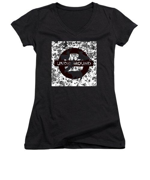Underground 1 Women's V-Neck T-Shirt (Junior Cut) by Alberto RuiZ