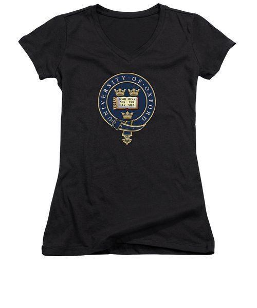University Of Oxford Seal - Coat Of Arms Over Colours Women's V-Neck T-Shirt (Junior Cut) by Serge Averbukh
