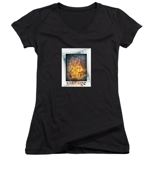 Vintage Wine Women's V-Neck T-Shirt (Junior Cut) by Valerie Anne Kelly