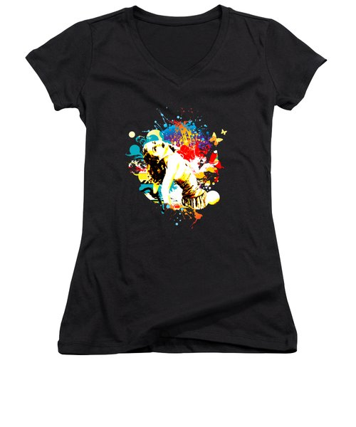 Vixen Subdued Women's V-Neck T-Shirt (Junior Cut) by Chris Andruskiewicz