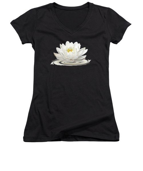 Water Lily Whirl Women's V-Neck T-Shirt (Junior Cut) by Gill Billington