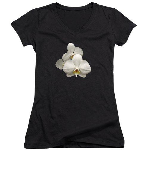 White Orchids Women's V-Neck T-Shirt (Junior Cut) by Rose Santuci-Sofranko