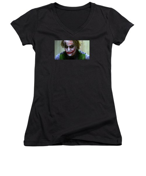 Why So Serious Women's V-Neck T-Shirt (Junior Cut) by Paul Tagliamonte