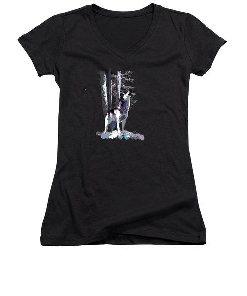 Wolf  Howling Memory Women's V-Neck T-Shirt (Junior Cut) by Regina Femrite