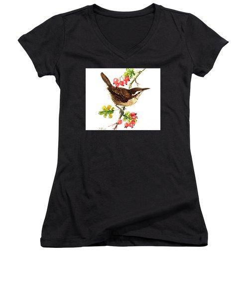 Wren And Rosehips Women's V-Neck T-Shirt (Junior Cut) by Nell Hill