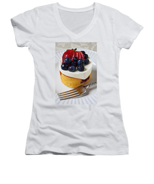 Cheese Cream Cake With Fruit Women's V-Neck T-Shirt (Junior Cut) by Garry Gay