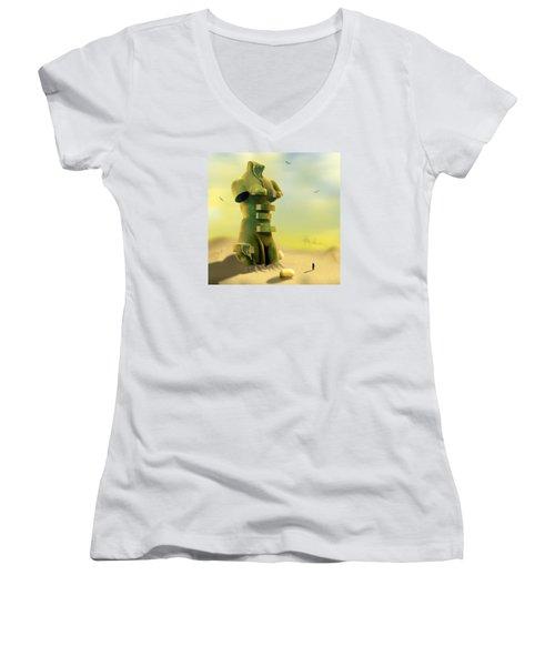 Drawers Women's V-Neck T-Shirt (Junior Cut) by Mike McGlothlen