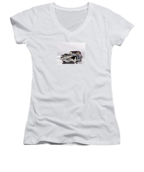 1946 Lincoln Continental Convertible Foggy Reflection Women's V-Neck T-Shirt (Junior Cut) by Jack Pumphrey