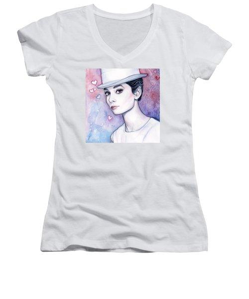 Audrey Hepburn Fashion Watercolor Women's V-Neck T-Shirt (Junior Cut) by Olga Shvartsur