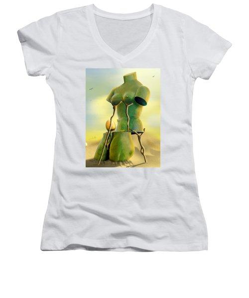 Crutches Women's V-Neck T-Shirt (Junior Cut) by Mike McGlothlen
