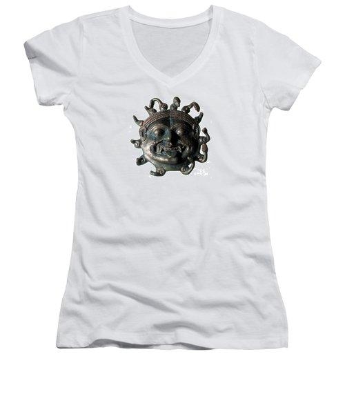 Gorgon Legendary Creature Women's V-Neck T-Shirt (Junior Cut) by Photo Researchers