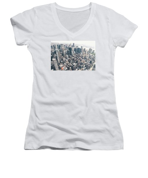 New York City From Above Women's V-Neck T-Shirt (Junior Cut) by Vivienne Gucwa