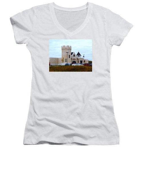 A Cheese Castle Women's V-Neck T-Shirt (Junior Cut) by Kay Novy