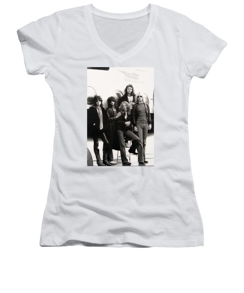 Aerosmith - Eurofest Jet 1977 Women's V-Neck T-Shirt (Junior Cut) by Epic Rights