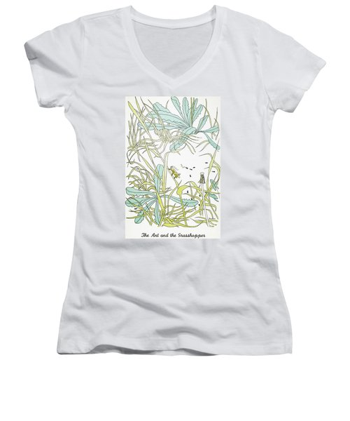 Aesop: Ant & Grasshopper Women's V-Neck T-Shirt (Junior Cut) by Granger