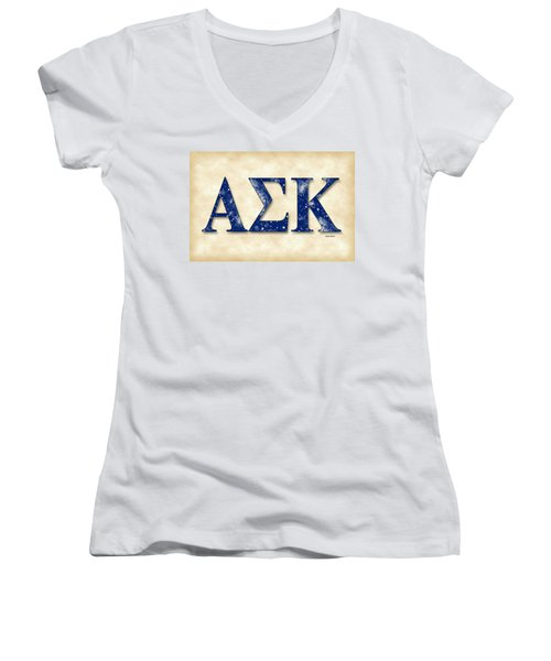 Alpha Sigma Kappa - Parchment Women's V-Neck T-Shirt (Junior Cut) by Stephen Younts